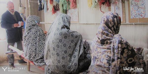 Rugs of Kashan-Boustani.Carpet weavers