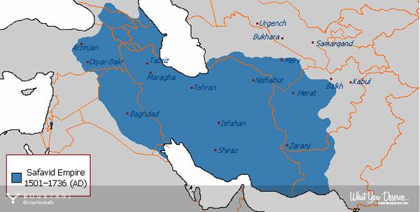Safavid Persian Carpets-The Maximum Extent of the Safavid Empire under Shah Abbas I